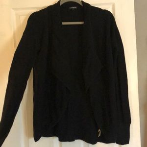 Express black knit waterfall cardigan
